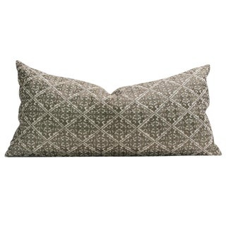 Swati Olive Diamond Brocade Pillow