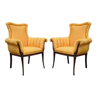 Vintage Hollywood Regency French Style Carved Fireside Lounge Arm Chairs - a Pair