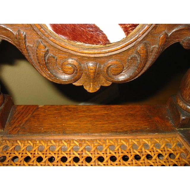 Berkey & Gay Jacobean Cane & Cowhide Arm Chair - Image 6 of 11