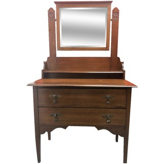 Antique Carved Wood Vanity & Mirror