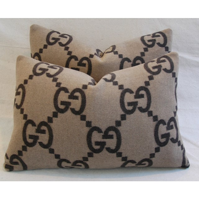 """23"""" X 16"""" Custom Tailored Gucci Cashmere & Velvet Feather/Down Pillows - Pair - Image 4 of 11"""