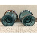 Image of Blue Carnival Glass Kings Crown Compotes - A Pair