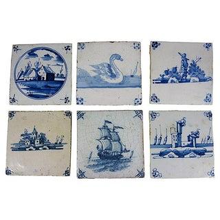 18th Century Antique English Delft Tiles - S/6