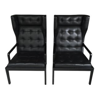 Pair of BoConcept Black Tufted Leather Chairs