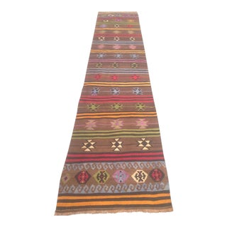 Vintage Turkish Kilim Runner - 2′7″ × 12′6″