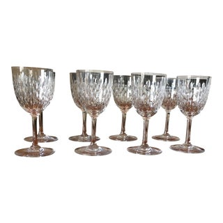Baccarat Crystal Disco Pattern Paris Wine Glasses - S/8