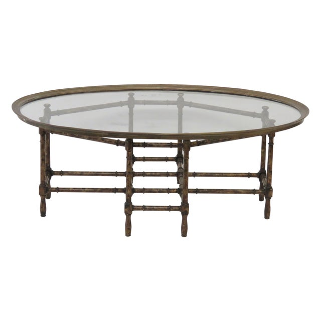 Bronze Tray Top Faux Bamboo Coffee Table Chairish