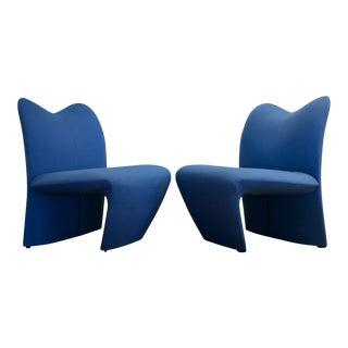 Sculptural Postmodern Blue Chairs, A Pair