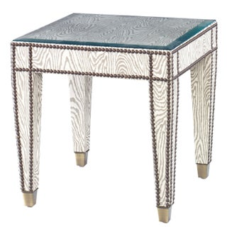 Kravet Wood Grain Fabric Wrapped Tapered Side Table