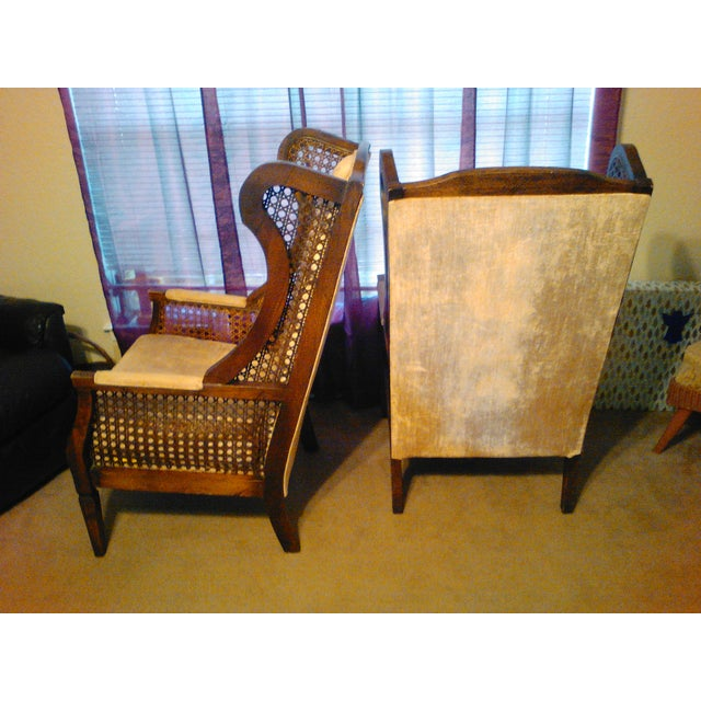 Lewittes High Wingback Chairs, Cane Sides - Pair - Image 4 of 11