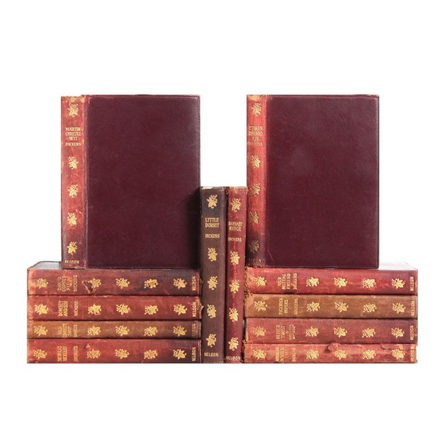 Distressed Leather Dickens Books - Set of 12 - Image 1 of 2