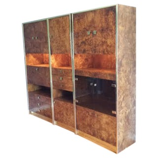 Burled Wood & Brass Wall Unit by Baughman