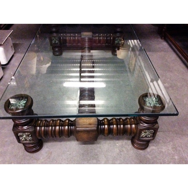 Wooden Spindle Table ~ Vintage dark wood spindle leg glass coffee table chairish
