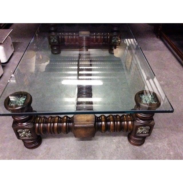 Vintage dark wood spindle leg glass coffee table chairish