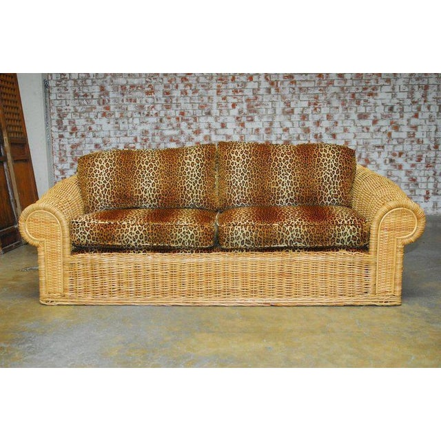 Michael Taylor Inspired Wicker Sofa Scalamandre Style Leopard - Sofa center oakland