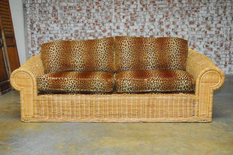 Michael Taylor Inspired Wicker Sofa Scalamandre Style Leopard Upholstery    Image 2 Of 10