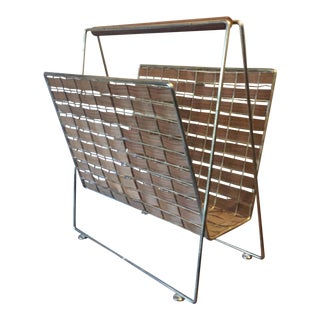 Mid-Century Woven Wood & Metal Magazine Rack