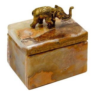 Onyx Cuff Link Box With Elephant God