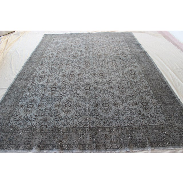 """Vintage Turkish Over-Dyed Gray Rug - 10' x 7'3"""" - Image 2 of 8"""