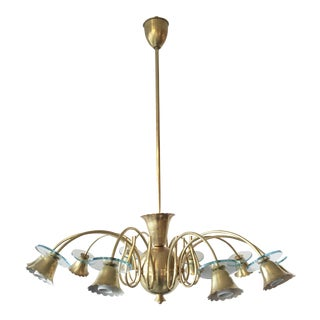 Italian Brass & Glass Chandelier