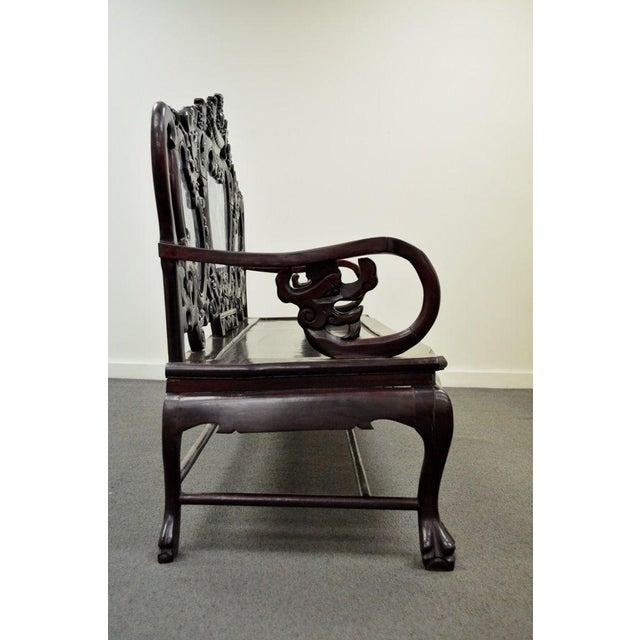 Vintage Chinese Japanese Dragon Carved Mahogany Marble Back Parlor Sofa - Image 4 of 10