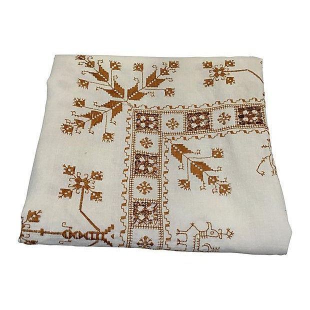 Hand embroidered french linen tablecloth chairish