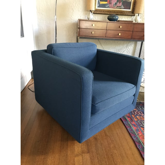 1970s Marden Mid-Century Blue Upholstered Sofa and Chair - Image 11 of 11