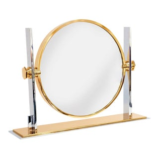 Karl Springer Polished Steel & Brass Vanity Mirror