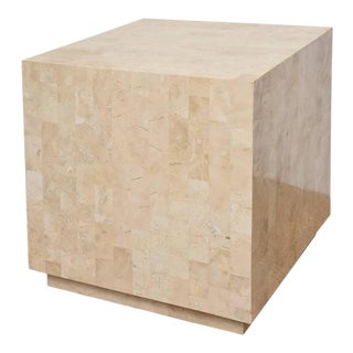 Tessellated Stone Maitland-Smith Cube Side Table and or Art Pedestal