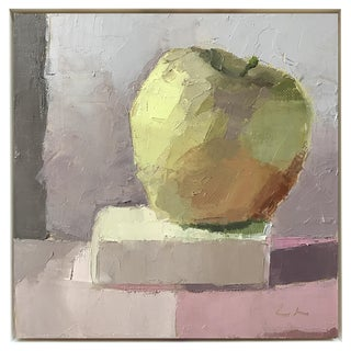 """Apple on a Pedestal"" Framed Oil Painting"