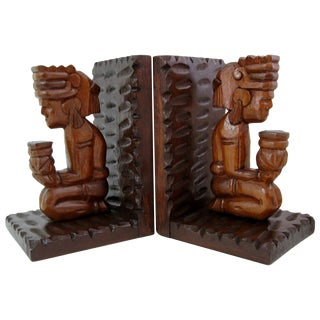 Hand-Carved Aztec-Styled Wood Bookends - A Pair