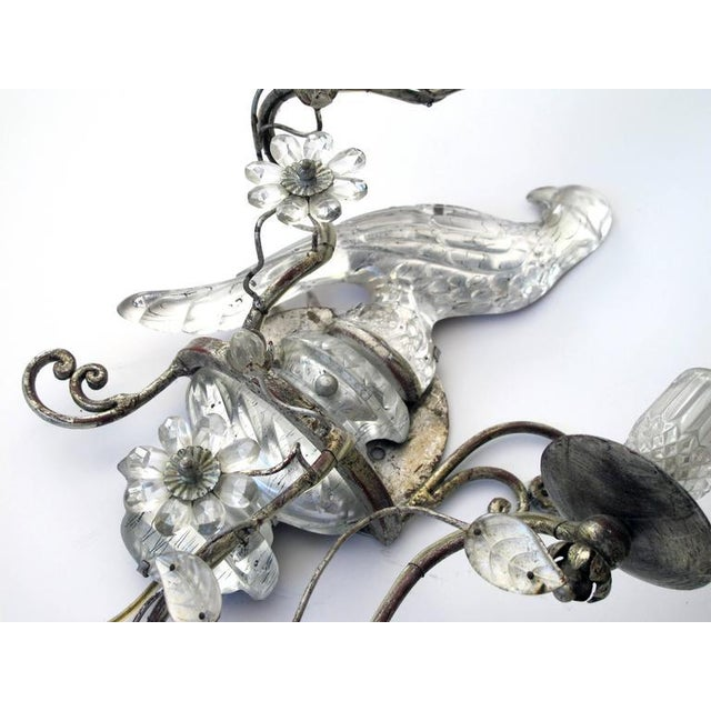 Image of Elegant Pair of French Mid-Century Maison Bagues Silver-Leafed and Glass Sconces