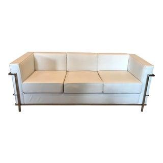 White Leather and Chrome Frame Sofa