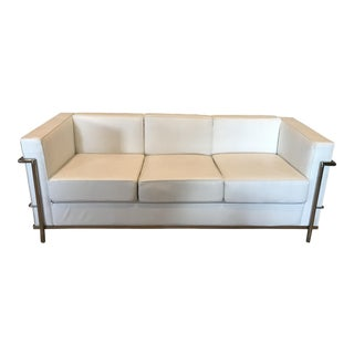 White Leather and Chrome Frame Sofa