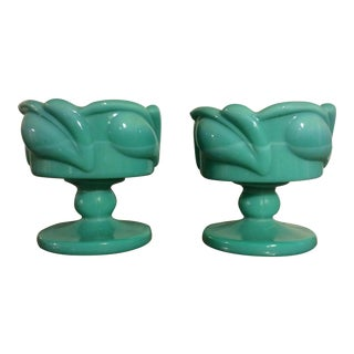 Vintage Turquoise Glass Candlestick Holders - Pair