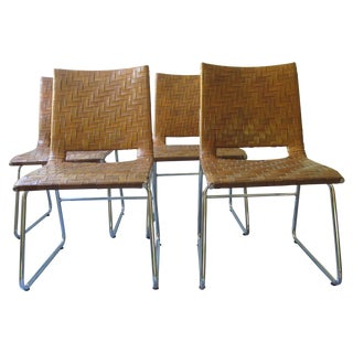 Modern Woven Leather Dining Chairs - Set of 4
