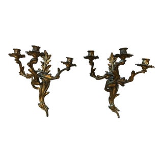 Rococo-Style Bronze Sconces - A Pair