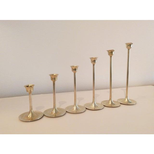 Slender Brass Candlesticks - Set of 6 - Image 6 of 8