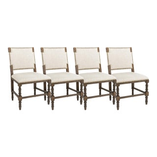 Gabby Furniture Tyson Oak Wood Nailhead Dining Chairs with Sunbrella Upholstery - Set of 4