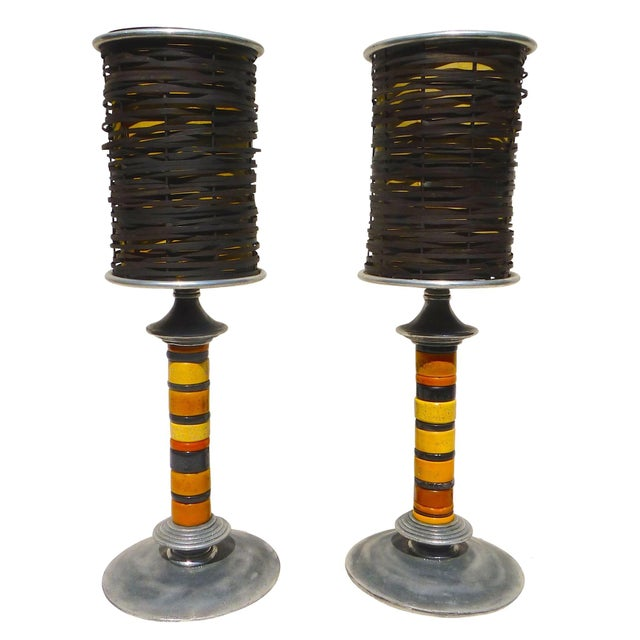 Trade Bead Lamps - A Pair - Image 1 of 9