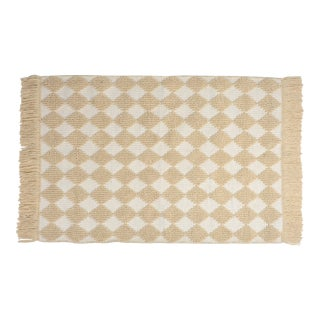 Boho Modern Cream Wool Diamond Rug - 4' x 6'
