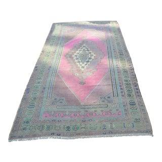 Turkish Faded Floor Rug - 4′10″ × 9′2″