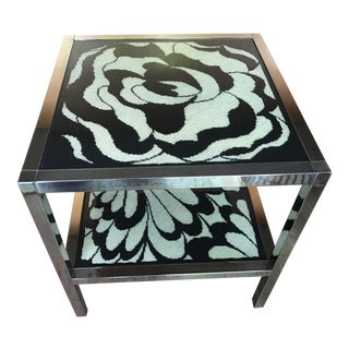 Chrome and Needlepoint 1960's Side Table
