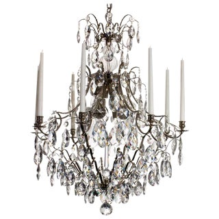 Baroque Nickel 8 Arm Almond Chandelier