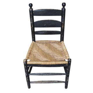 Antique Hand Hewn Rush Seat Chair