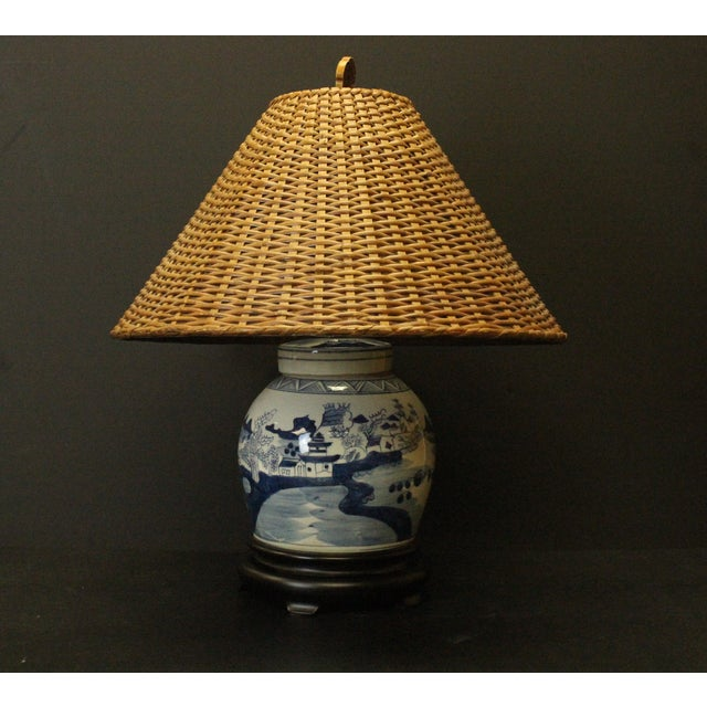 chinoserie ginger jar lamp with wicker shade chairish. Black Bedroom Furniture Sets. Home Design Ideas