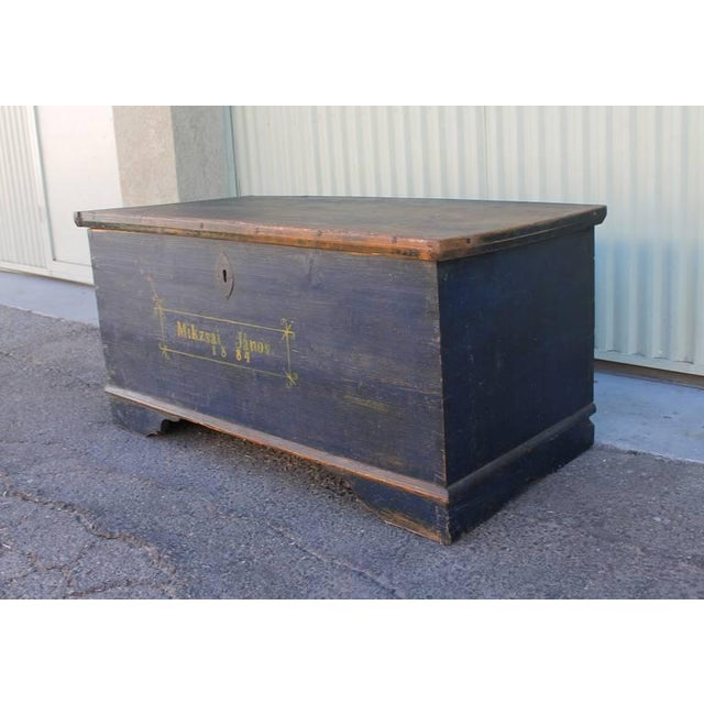 19th Century Original, Blue Painted Blanket Chest - Image 5 of 10