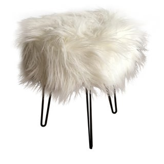 Vintage White Fluffy Stool