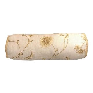 Gold & Khaki Floral Linen Lumbar Pillow