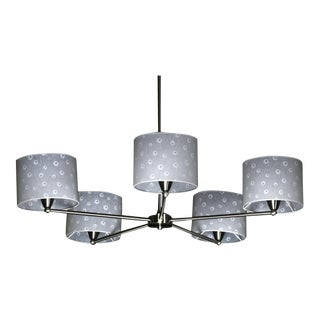Contemporary Printed White Shaded Chrome Chandelier